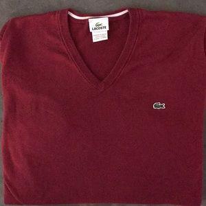 🐊 Lacoste Men's V-Neck Maroon Sweater - 7